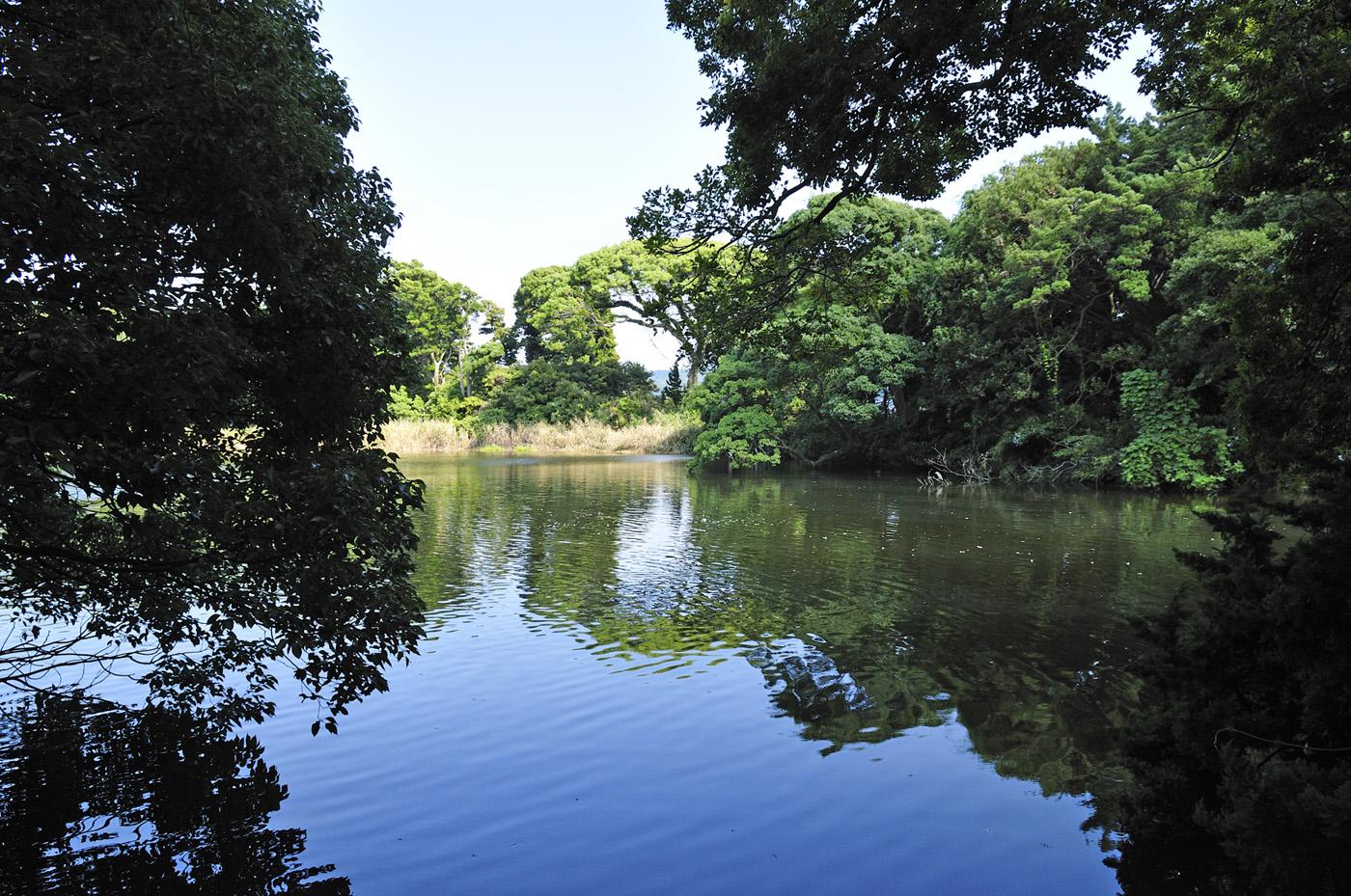 岬の先端に位置する淡水湖「神池」